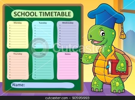 Weekly school timetable template 1 stock vector clipart, Weekly school timetable template 1 - eps10 vector illustration. by Klara Viskova