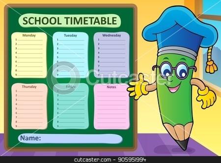 Weekly school timetable template 2 stock vector clipart, Weekly school timetable template 2 - eps10 vector illustration. by Klara Viskova