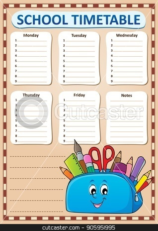 Weekly school timetable template 3 stock vector clipart, Weekly school timetable template 3 - eps10 vector illustration. by Klara Viskova