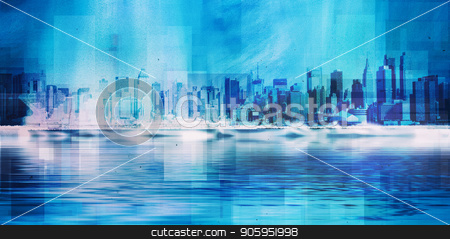 NYC skyline stock photo, New York skyline. 3D Rendering by Bruce Rolff