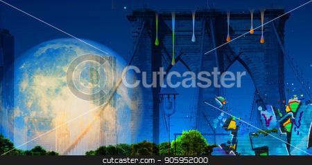 Brooklyn bridge and Full Moon stock photo, Modern art. Brooklyn bridge. Giant moon in the sky. by Bruce Rolff