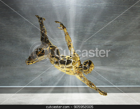 Motion Man stock photo, 3d rendering. Figure of man with rays of light in motion. by Bruce Rolff