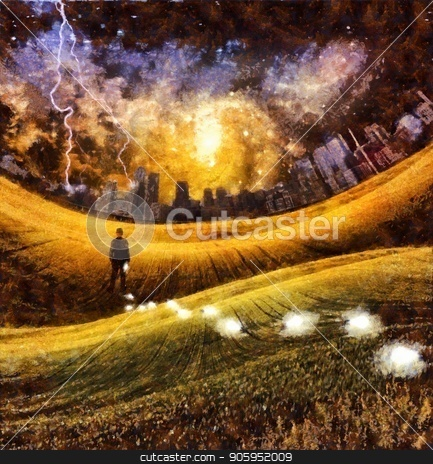 Losing ideas stock photo, Surreal painting. Man is losing light bulbs in the green field. Light bulbs symbolizes ideas. Storm over city at the horizon. Colorful galaxies in the sky. by Bruce Rolff