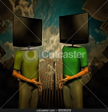 Media Discussion stock photo, Surreal painting. Two men with TV-screens instead of their heads are dicussing. Skyscrapers on a background. by Bruce Rolff