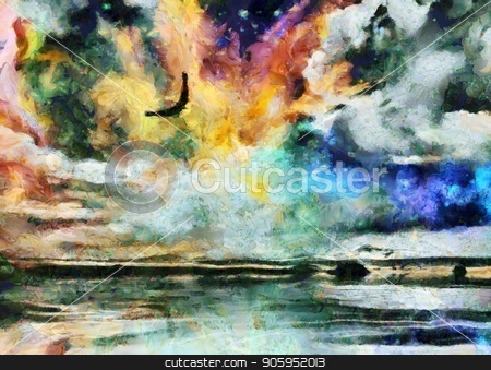 Freedom Sky stock photo, Surreal painting. Eagle flies in vivid sky. by Bruce Rolff