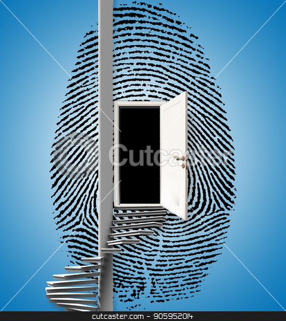 Fingerprint Ladder stock photo, Surrealism. Fingerprint with opened door and spiral ladder. by Bruce Rolff