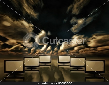 Media Screens stock photo, Surrealism. TV screens in the sky. by Bruce Rolff