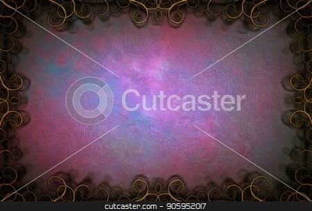 Purple art strokes stock photo, Abstract painting. Purple brush strokes in curly frame. by Bruce Rolff