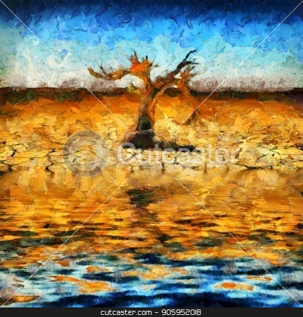 Old tree stock photo, Surreal painting. Old dry tree on a desert shore.  by Bruce Rolff