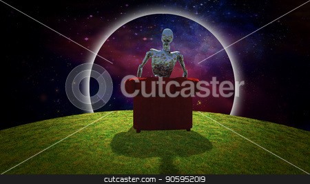 Observing the Universe stock photo, Surreal composition. Rusted alien sits in red armchair and observer vivid universe. 3D rendering by Bruce Rolff