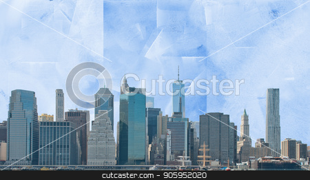 Manhattan stock photo, Modern art. Manhattan view. by Bruce Rolff
