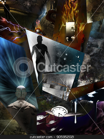 Mind Dimensions stock photo, Multi layered abstract composition. 3D rendering by Bruce Rolff