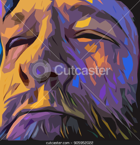 Wisdom Face stock photo, Surreal painting. Old man's face in purple colors. by Bruce Rolff