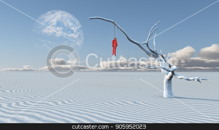 Hanged man. White desert stock photo, Surreal white desert. Man in red suit is hanged on a dry tree.  by Bruce Rolff