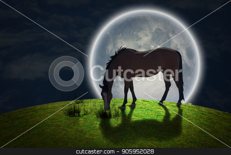 Horse. Full moon stock photo, Surrealism. Horse grazes on greem meadow. Giant moon at the horrizon. Some elements image credit NASA. by Bruce Rolff