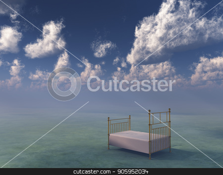 Bed in sky stock photo, Bed in surreal space. by Bruce Rolff