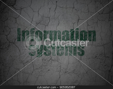 Information concept: Information Systems on grunge wall background stock photo, Information concept: Green Information Systems on grunge textured concrete wall background by mkabakov