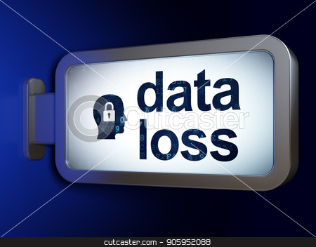 Data concept: Data Loss and Head With Padlock on billboard background stock photo, Data concept: Data Loss and Head With Padlock on advertising billboard background, 3D rendering by mkabakov