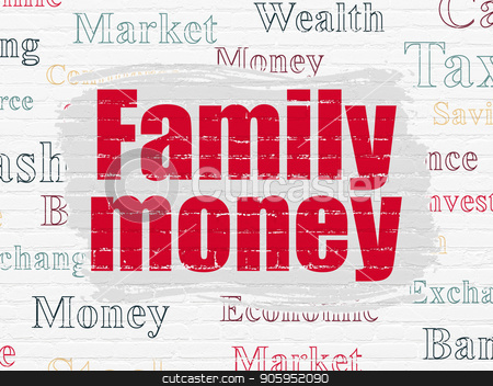 Money concept: Family Money on wall background stock photo, Money concept: Painted red text Family Money on White Brick wall background with  Tag Cloud by mkabakov