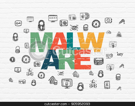 Safety concept: Malware on wall background stock photo, Safety concept: Painted multicolor text Malware on White Brick wall background with  Hand Drawn Security Icons by mkabakov