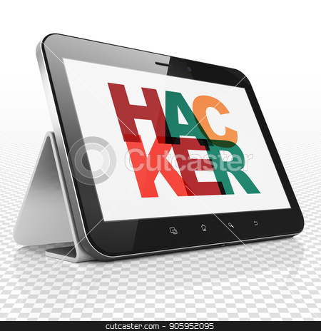 Privacy concept: Tablet Computer with Hacker on  display stock photo, Privacy concept: Tablet Computer with Painted multicolor text Hacker on display, 3D rendering by mkabakov