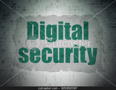 Security concept: Digital Security on Digital Data Paper background stock photo, Security concept: Painted green text Digital Security on Digital Data Paper background with  Scheme Of Hexadecimal Code by mkabakov