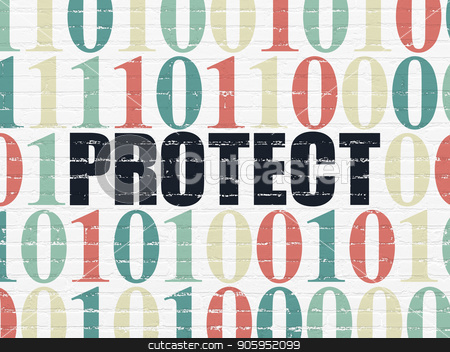 Protection concept: Protect on wall background stock photo, Protection concept: Painted black text Protect on White Brick wall background with Binary Code by mkabakov