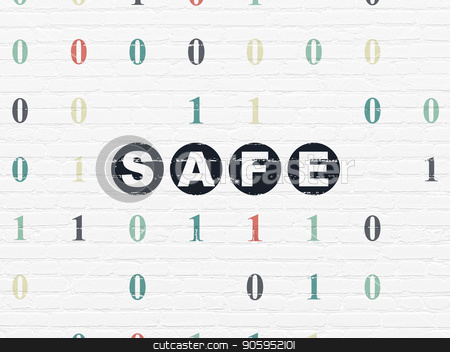 Security concept: Safe on wall background stock photo, Security concept: Painted black text Safe on White Brick wall background with Binary Code by mkabakov