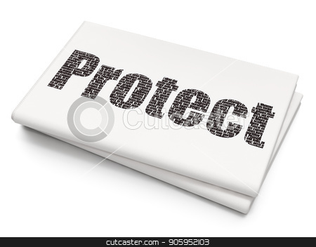 Safety concept: Protect on Blank Newspaper background stock photo, Safety concept: Pixelated black text Protect on Blank Newspaper background, 3D rendering by mkabakov