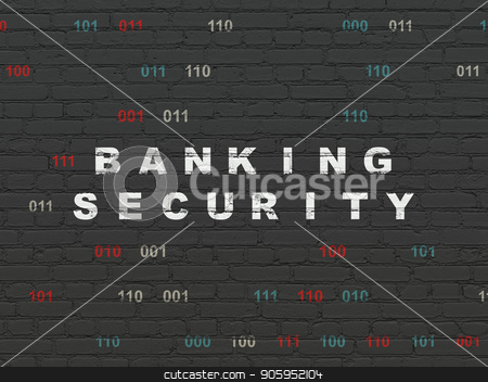 Safety concept: Banking Security on wall background stock photo, Safety concept: Painted white text Banking Security on Black Brick wall background with Binary Code by mkabakov