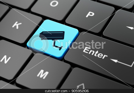 Security concept: Cctv Camera on computer keyboard background stock photo, Security concept: computer keyboard with Cctv Camera icon on enter button background, 3D rendering by mkabakov