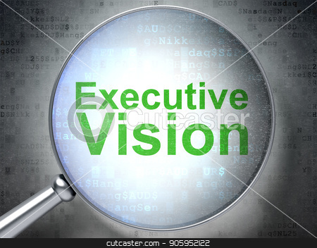Business concept: Executive Vision with optical glass stock photo, Business concept: magnifying optical glass with words Executive Vision on digital background, 3D rendering by mkabakov