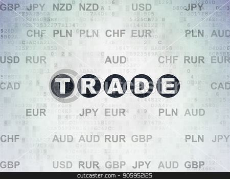 Finance concept: Trade on Digital Data Paper background stock photo, Finance concept: Painted black text Trade on Digital Data Paper background with Currency by mkabakov