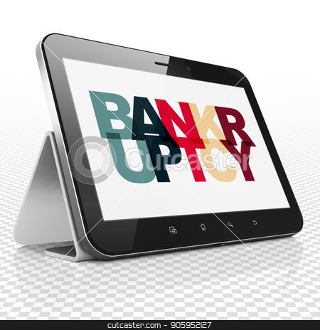 Business concept: Tablet Computer with Bankruptcy on  display stock photo, Business concept: Tablet Computer with Painted multicolor text Bankruptcy on display, 3D rendering by mkabakov