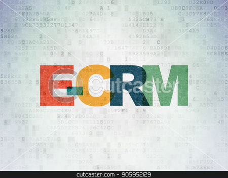 Finance concept: E-CRM on Digital Data Paper background stock photo, Finance concept: Painted multicolor text E-CRM on Digital Data Paper background by mkabakov