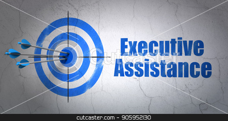 Business concept: target and Executive Assistance on wall background stock photo, Success business concept: arrows hitting the center of target, Blue Executive Assistance on wall background, 3D rendering by mkabakov