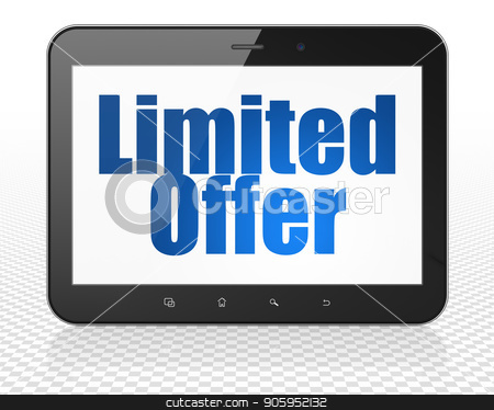 Finance concept: Tablet Pc Computer with Limited Offer on display stock photo, Finance concept: Tablet Pc Computer with blue text Limited Offer on display, 3D rendering by mkabakov