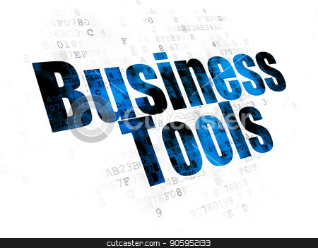 Finance concept: Business Tools on Digital background stock photo, Finance concept: Pixelated blue text Business Tools on Digital background by mkabakov