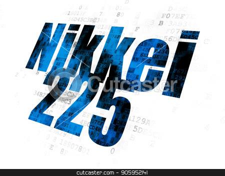 Stock market indexes concept: Nikkei 225 on Digital background stock photo, Stock market indexes concept: Pixelated blue text Nikkei 225 on Digital background by mkabakov