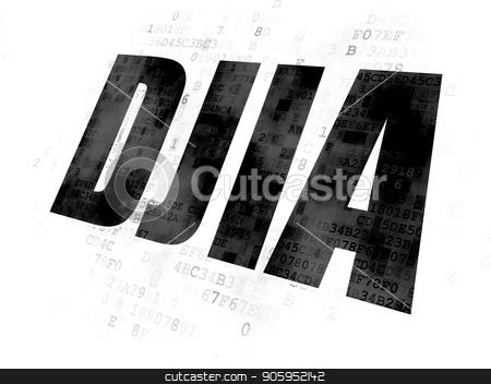Stock market indexes concept: DJIA on Digital background stock photo, Stock market indexes concept: Pixelated black text DJIA on Digital background by mkabakov