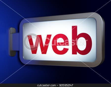 Web design concept: Web on billboard background stock photo, Web design concept: Web on advertising billboard background, 3D rendering by mkabakov