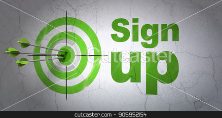 Web design concept: target and Sign Up on wall background stock photo, Success web design concept: arrows hitting the center of target, Green Sign Up on wall background, 3D rendering by mkabakov