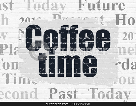 Time concept: Coffee Time on wall background stock photo, Time concept: Painted black text Coffee Time on White Brick wall background with  Tag Cloud by mkabakov