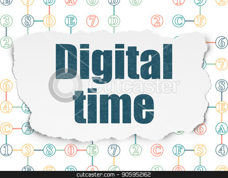 Time concept: Digital Time on Torn Paper background stock photo, Time concept: Painted blue text Digital Time on Torn Paper background with Scheme Of Hexadecimal Code by mkabakov