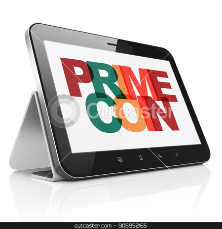 Cryptocurrency concept: Tablet Computer with Primecoin on  display stock photo, Cryptocurrency concept: Tablet Computer with Painted multicolor text Primecoin on display, 3D rendering by mkabakov