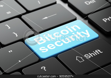 Blockchain concept: Bitcoin Security on computer keyboard background stock photo, Blockchain concept: computer keyboard with word Bitcoin Security, selected focus on enter button background, 3D rendering by mkabakov