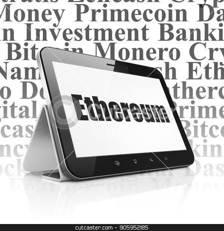 Cryptocurrency concept: Tablet Computer with Ethereum on display stock photo, Cryptocurrency concept: Tablet Computer with  black text Ethereum on display,  Tag Cloud background, 3D rendering by mkabakov