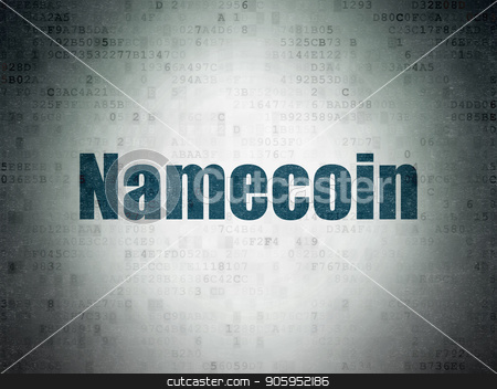 Cryptocurrency concept: Namecoin on Digital Data Paper background stock photo, Cryptocurrency concept: Painted blue word Namecoin on Digital Data Paper background by mkabakov