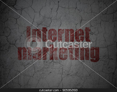 Advertising concept: Internet Marketing on grunge wall background stock photo, Advertising concept: Red Internet Marketing on grunge textured concrete wall background by mkabakov
