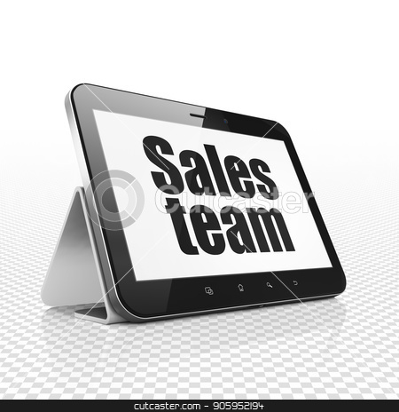 Advertising concept: Tablet Computer with Sales Team on display stock photo, Advertising concept: Tablet Computer with  black text Sales Team on display,  Tag Cloud background, 3D rendering by mkabakov